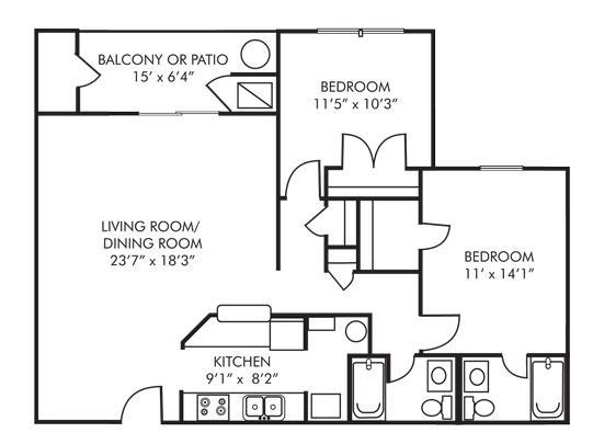 Two Bedroom 1105 Sq Ft