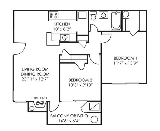 Two Bedroom 805 Sq Ft